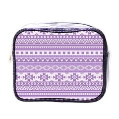 Fancy Tribal Borders Lilac Mini Toiletries Bags by ImpressiveMoments