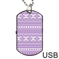 Fancy Tribal Borders Lilac Dog Tag Usb Flash (one Side) by ImpressiveMoments