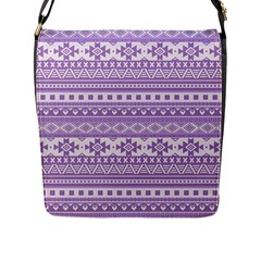 Fancy Tribal Borders Lilac Flap Messenger Bag (l)  by ImpressiveMoments