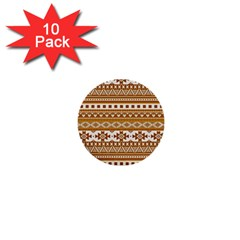 Fancy Tribal Borders Golden 1  Mini Buttons (10 Pack)  by ImpressiveMoments