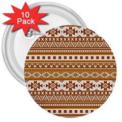 Fancy Tribal Borders Golden 3  Buttons (10 Pack)  by ImpressiveMoments