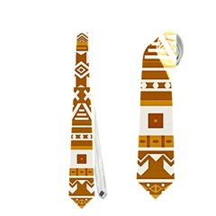Fancy Tribal Borders Golden Neckties (Two Side)