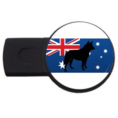 Australian Cattle Dog Silhouette on Australia Flag USB Flash Drive Round (1 GB)  by TailWags