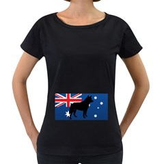 Australian Cattle Dog Silhouette on Australia Flag Women s Loose-Fit T-Shirt (Black) by TailWags