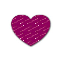 Merry Christmas,text,bordeaux Rubber Coaster (heart)  by ImpressiveMoments