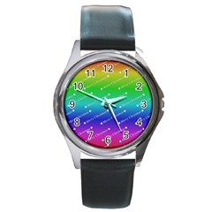 Merry Christmas,text,rainbow Round Metal Watches by ImpressiveMoments