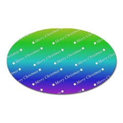 Merry Christmas,text,rainbow Oval Magnet by ImpressiveMoments