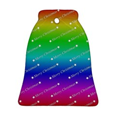 Merry Christmas,text,rainbow Bell Ornament (2 Sides) by ImpressiveMoments