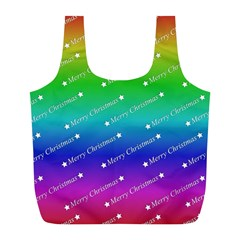 Merry Christmas,text,rainbow Full Print Recycle Bags (l)  by ImpressiveMoments
