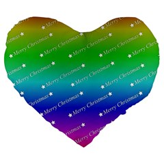 Merry Christmas,text,rainbow Large 19  Premium Flano Heart Shape Cushions by ImpressiveMoments