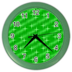 Many Stars, Neon Green Color Wall Clocks by ImpressiveMoments