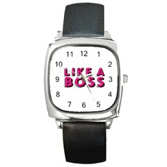 Like A Boss  Square Metal Watches by OCDesignss