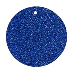Sparkling Glitter Blue Round Ornament (two Sides)  by ImpressiveMoments