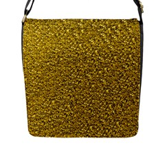 Sparkling Glitter Golden Flap Messenger Bag (l)  by ImpressiveMoments