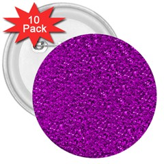 Sparkling Glitter Hot Pink 3  Buttons (10 Pack)  by ImpressiveMoments