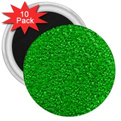 Sparkling Glitter Neon Green 3  Magnets (10 Pack)  by ImpressiveMoments