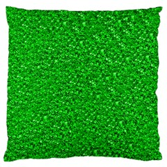Sparkling Glitter Neon Green Large Flano Cushion Cases (One Side)