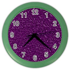 Sparkling Glitter Plum Color Wall Clocks by ImpressiveMoments
