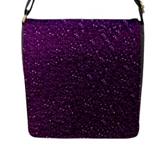 Sparkling Glitter Plum Flap Messenger Bag (l)  by ImpressiveMoments