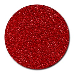 Sparkling Glitter Red Round Mousepads by ImpressiveMoments