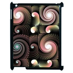 Peach Swirls On Black Apple Ipad 2 Case (black) by KirstenStar