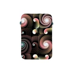 Peach Swirls On Black Apple Ipad Mini Protective Soft Cases by KirstenStar