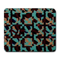 Distorted Shapes In Retro Colors Large Mousepad by LalyLauraFLM