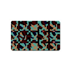 Distorted Shapes In Retro Colors Magnet (name Card) by LalyLauraFLM