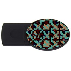 Distorted Shapes In Retro Colors Usb Flash Drive Oval (2 Gb) by LalyLauraFLM