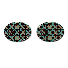 Distorted Shapes In Retro Colors Cufflinks (oval) by LalyLauraFLM