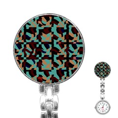 Distorted Shapes In Retro Colors Stainless Steel Nurses Watch by LalyLauraFLM