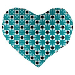 Cute Pretty Elegant Pattern Large 19  Premium Flano Heart Shape Cushions by creativemom
