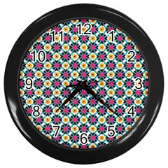 Cute Abstract Pattern Background Wall Clocks (black) by creativemom