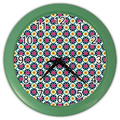 Cute Abstract Pattern Background Color Wall Clocks by creativemom
