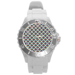 Cute Abstract Pattern Background Round Plastic Sport Watch (l) by creativemom