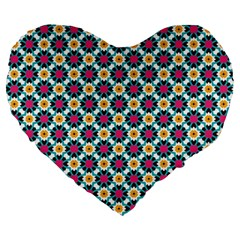 Cute Abstract Pattern Background Large 19  Premium Heart Shape Cushions by creativemom
