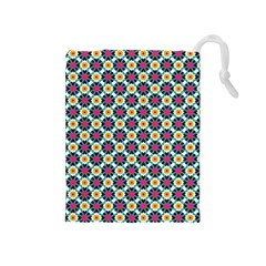 Cute Abstract Pattern Background Drawstring Pouches (medium)  by creativemom