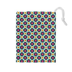 Cute Abstract Pattern Background Drawstring Pouches (large)  by creativemom