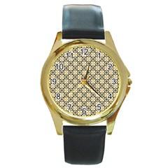 Cute Pretty Elegant Pattern Round Gold Metal Watches by creativemom