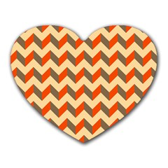 Modern Retro Chevron Patchwork Pattern  Heart Mousepads by creativemom