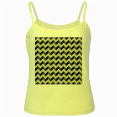 Modern Retro Chevron Patchwork Pattern  Yellow Spaghetti Tanks by creativemom