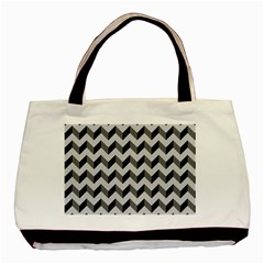 Modern Retro Chevron Patchwork Pattern  Basic Tote Bag  by creativemom