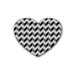 Modern Retro Chevron Patchwork Pattern  Heart Coaster (4 Pack)  by creativemom