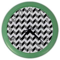Modern Retro Chevron Patchwork Pattern  Color Wall Clocks by creativemom
