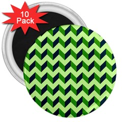 Modern Retro Chevron Patchwork Pattern 3  Magnets (10 Pack)  by creativemom
