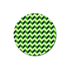 Modern Retro Chevron Patchwork Pattern Magnet 3  (round) by creativemom