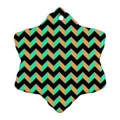 Modern Retro Chevron Patchwork Pattern Ornament (Snowflake)