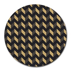 Modern Retro Chevron Patchwork Pattern Round Mousepads by creativemom