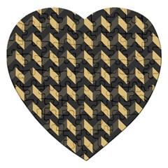 Modern Retro Chevron Patchwork Pattern Jigsaw Puzzle (heart) by creativemom