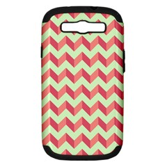 Modern Retro Chevron Patchwork Pattern Samsung Galaxy S Iii Hardshell Case (pc+silicone) by creativemom